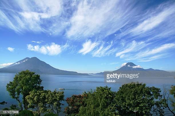 Lake Atitlan volcanos San Pedro and Toliman in  Panajachel, Guatemala