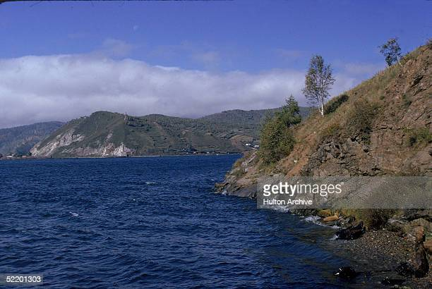 Lake Baikal at the start of the Angara River Irkutsk Siberia Russia 1980s Baikal is the largest freshwater lake in Asia and the deepest lake in the...