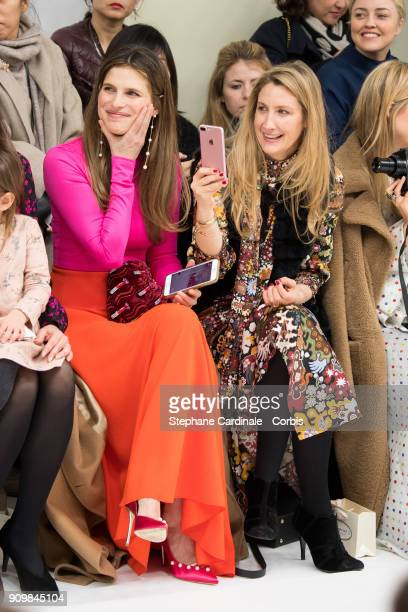 Lake Bell and Georgina Cohen attend the Bonpoint Winter 2018 show as part of Paris Fashion Week January 24 2018 in Paris France