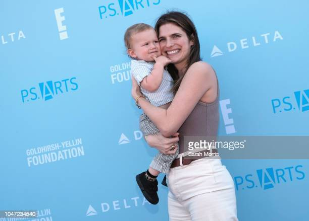 Lake Bell and her son Ozgood Campbell attend P.S. Arts Express Yourself 2018 at Barker Hangar on October 7, 2018 in Santa Monica, California.