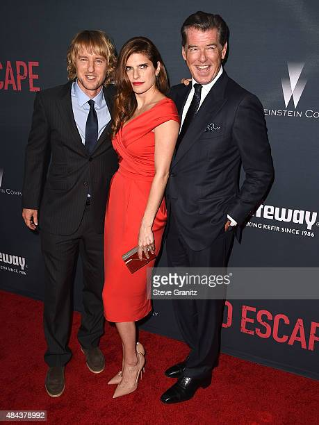 """Lake Bell, Owen Wilson and Pierce Brosnan arrives at the Premiere Of The Weinstein Company's """"No Escape"""" at Regal Cinemas L.A. Live on August 17,..."""
