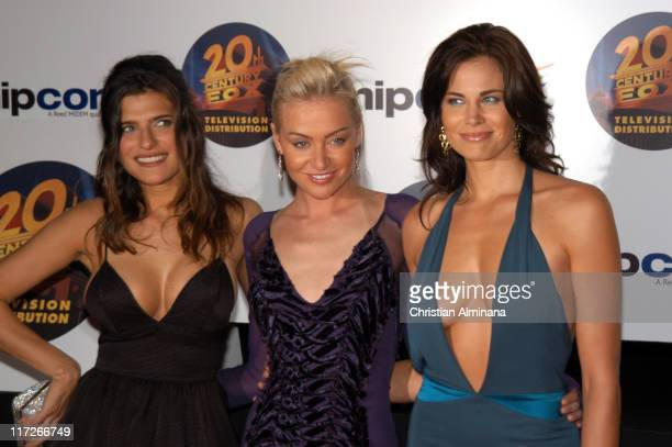 Lake Bell Portia de Rossi and Brooke Burns during 2004 MIPCOM 20th Anniversary Party at Martinez Hotel in Cannes France