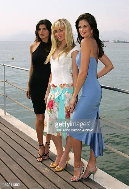 Lake Bell Portia de Rossi and Brooke Burns during 2004 MIPCOM Girls of Fox Photocall at Carlton Pier in Cannes France