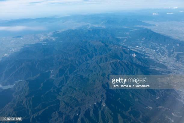 lake biwa and suzuka mountain range in japan daytime aerial view from airplane - 三重県 ストックフォトと画像