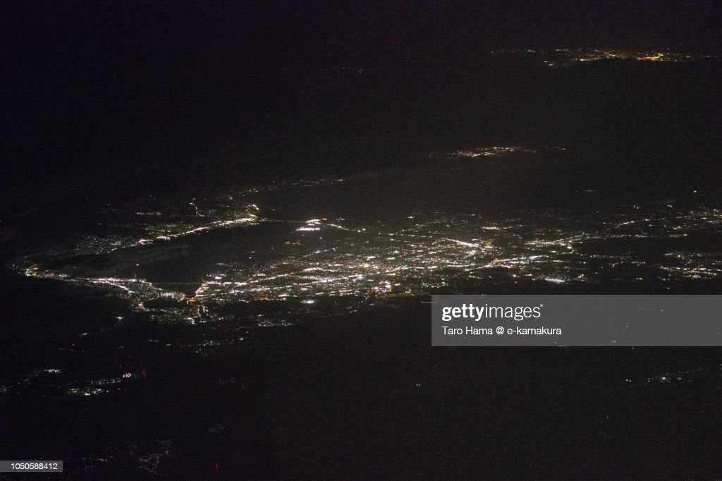 Lake Biwa in Shiga prefecture in Japan night time aerial view from airplane : ストックフォト