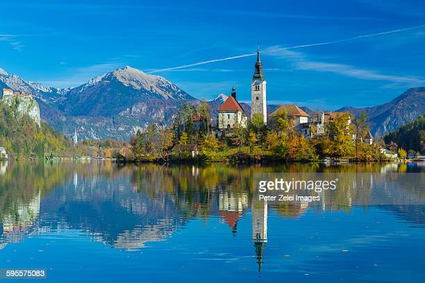 lake bled in slovenia - slovenia stock pictures, royalty-free photos & images