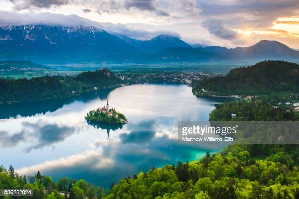 Lake Bled Island and the Julian Alps at sunrise, seen from Osojnica Hill, Bled, Julian Alps, Gorenjska, Slovenia, Europe