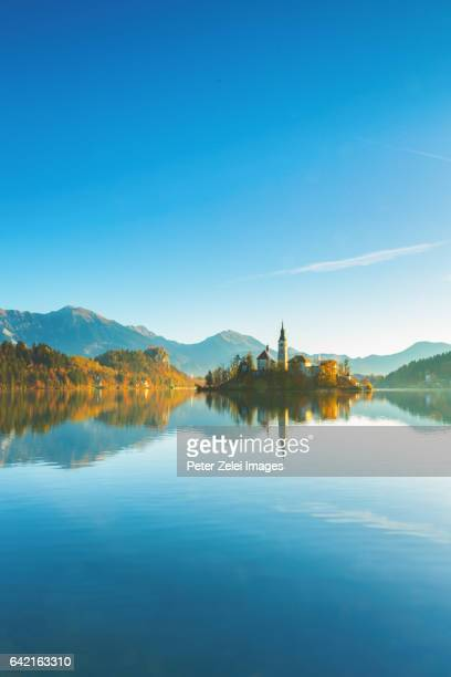 Lake Bled with the church dedicated to the Assumption of Mary, Slovenia