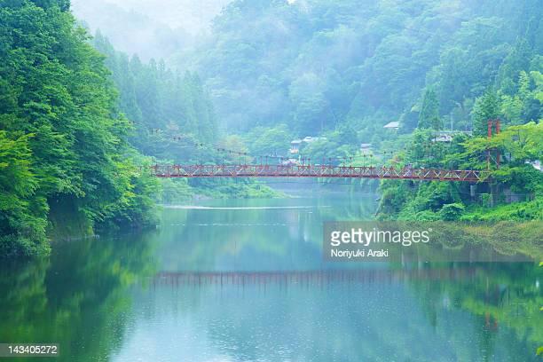 Lake bridge in fog
