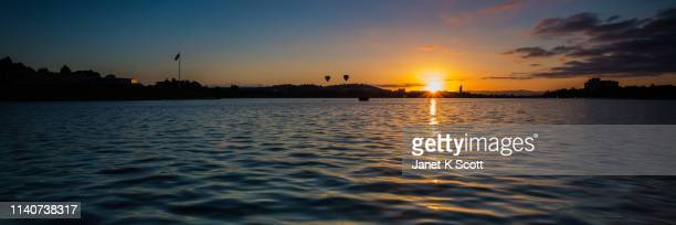 lake burley griffin sunrise - janet scott stock pictures, royalty-free photos & images
