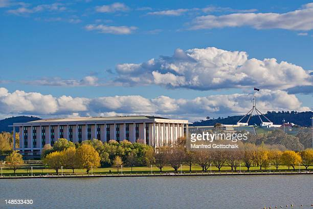 Lake Burley Griffin with the National Library and Capital Hill.