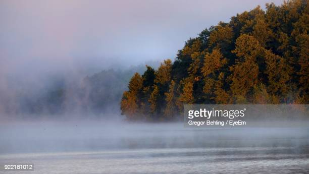 Lake By Autumn Trees During Foggy Weather