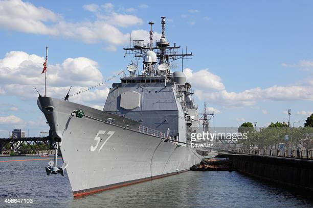 uss lake champlain. - willamette river stock photos and pictures