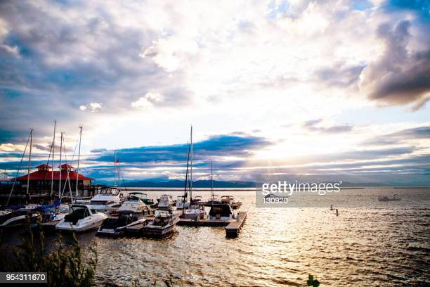 lake champlain - sunset - burlington vermont stock photos and pictures
