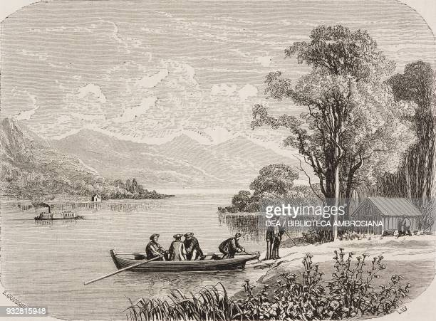 Lake Champlain United States of America and Canada drawing by Grandsire from a sketch by M Deville from Il Giro del mondo Journal of geography travel...