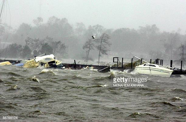 Damaged sail boats are seen in Lake Charles Louisiana 24 September 2005 after hurricane Rita gave the US Gulf Coast its second pounding in less than...