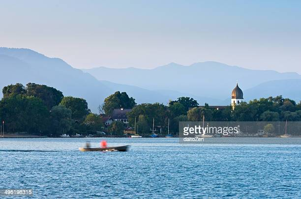 Lake Chiemsee with Bell Tower Frauenchiemsee Abbey