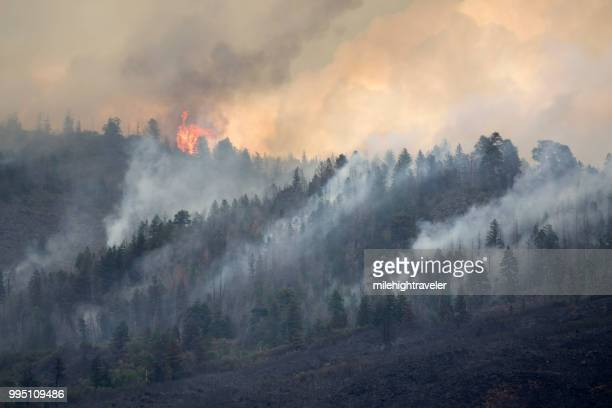 lake christine forest fire basalt mountain colorado rocky mountain wildfire smoke - forest fire stock pictures, royalty-free photos & images