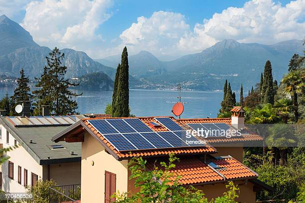 Lake Como Italy Houses with Solar Cells