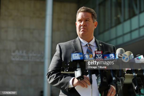 Lake County State's Attorney Michael Nerheim speaks to the media Sept. 25 outside the Lake County Courthouse in Waukegan.