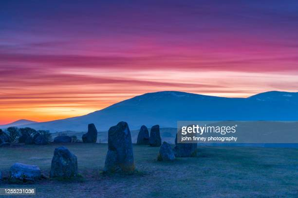 lake district national park, castlerigg stone circle sunrise. . uk. - whitehaven cumbria stock pictures, royalty-free photos & images