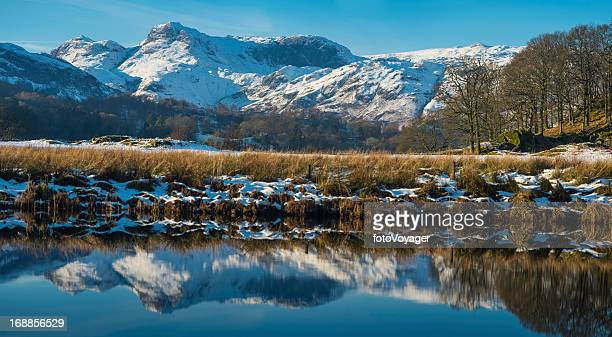 Lake District snowy mountain peaks reflecting in tarn Cumbria