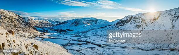 lake district winter fells mountain sunrise panorama langdale valley cumbria - ambleside stock photos and pictures