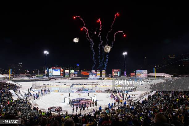 Lake Erie Monsters travel to Rochester to take on the Rochester Americans for the Frozen Frontier outdoor AHL matchup on December 13, 2013 at...
