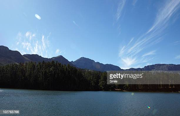 Lake, forest and mountains