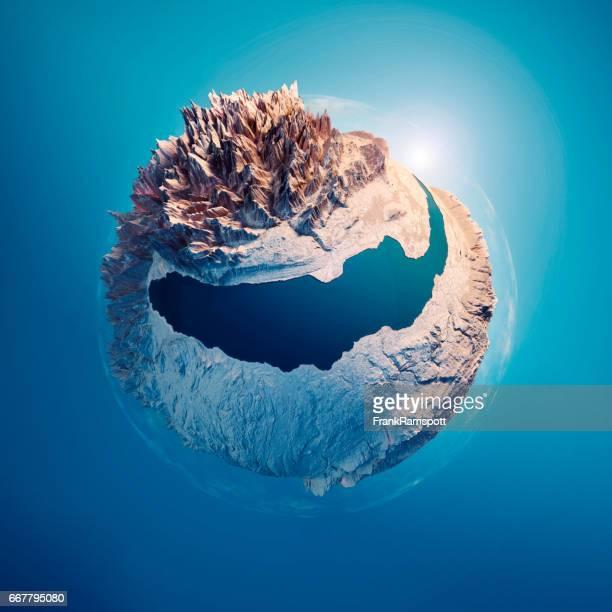 Genfer See 3D wenig Planet Kugel 360-Grad Panorama blau