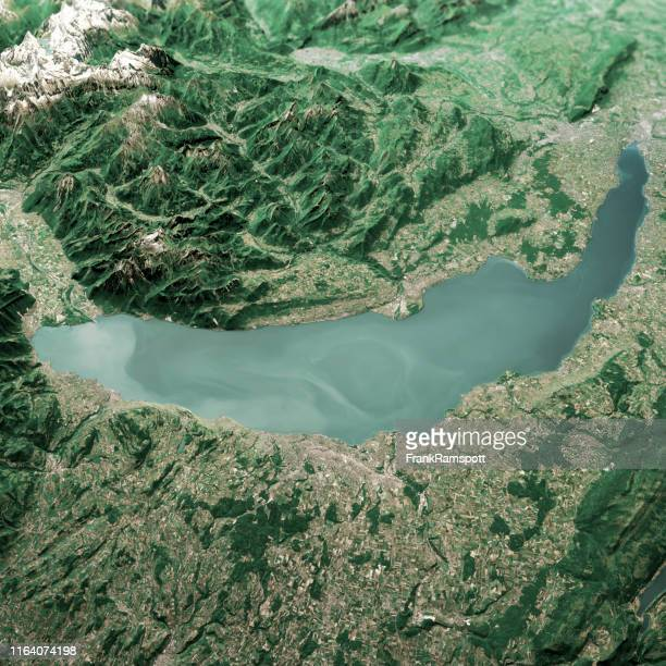 lake geneva 3d render aerial landscape view from north jun 2019 - frank ramspott stock pictures, royalty-free photos & images
