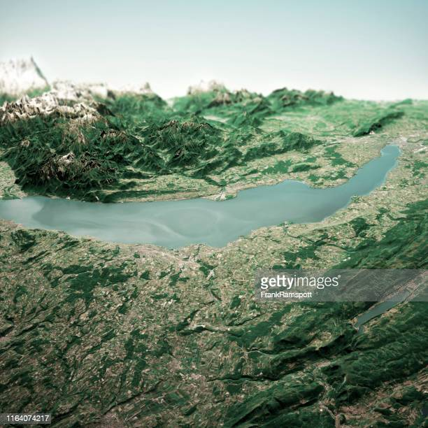 lake geneva 3d render horizon aerial view from north jun 2019 - frankramspott stock pictures, royalty-free photos & images
