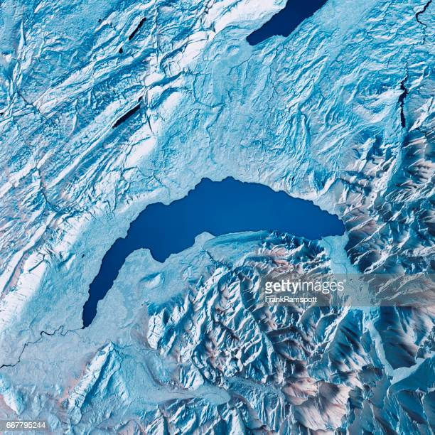 Lake Geneva 3D Render Satellite View Topographic Map Blue