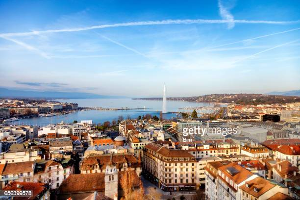 lake geneva from above, geneva, switzerland - switzerland stock pictures, royalty-free photos & images