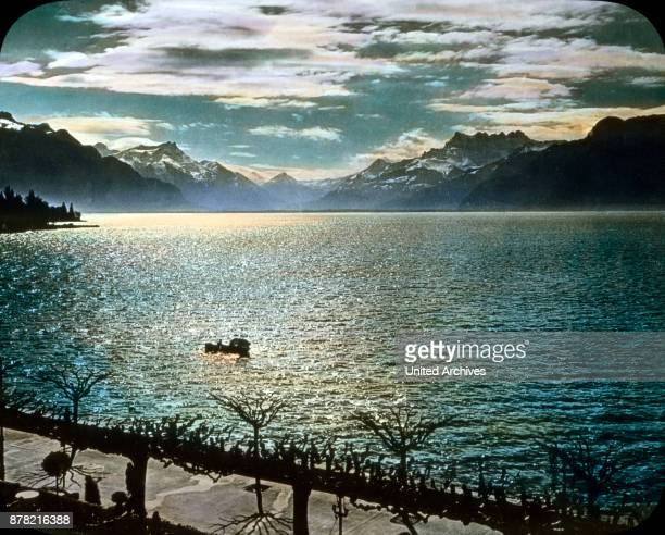Lake Geneva in the evening sun Switzerland 1930s