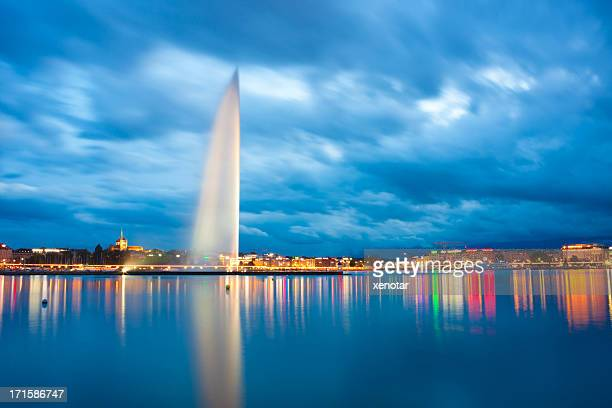 Lake geneva Jet D'eau and sunset of Alps