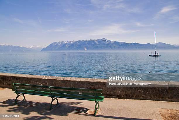 lake geneva (lac leman), lausanne, switzerland. - lausanne stock pictures, royalty-free photos & images