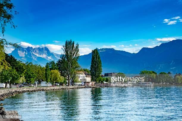lake geneva, switzerland - nyon stock pictures, royalty-free photos & images