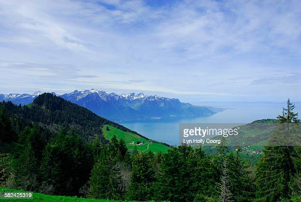 lake geneva with mountains in foreground - lyn holly coorg stock-fotos und bilder