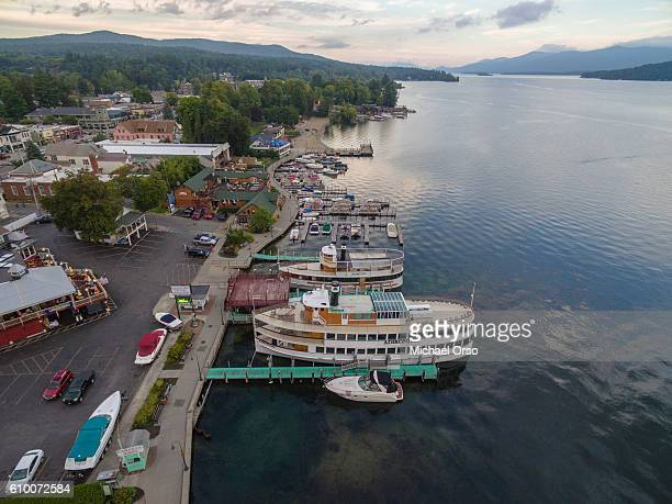 lake george aerial upstate new york. - lake george new york stock pictures, royalty-free photos & images