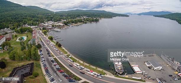 lake george panorama aerial upstate new york. - lake george new york stock pictures, royalty-free photos & images