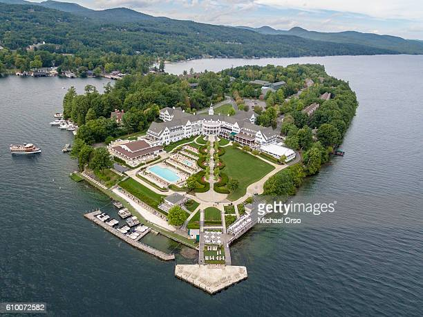 lake george panorama aerial upstate new york. sagamore, bolton landing, hotel, resort - lake george new york stock pictures, royalty-free photos & images