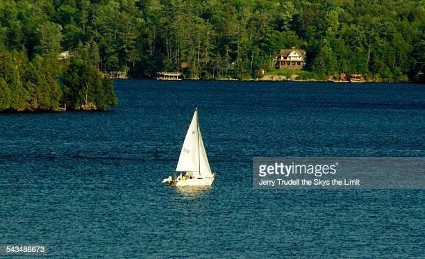 lake george sailboat - lake george new york stock pictures, royalty-free photos & images