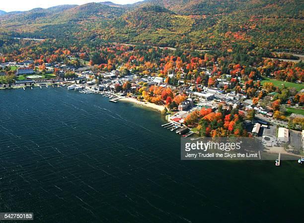 lake george village peak  fall foliage - lake george new york stock pictures, royalty-free photos & images