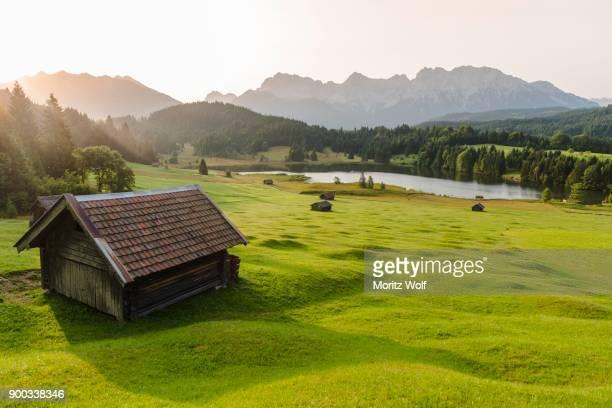Lake Geroldsee at sunrise, Mittenwald, Karwendel, Alps, Bavaria, Germany