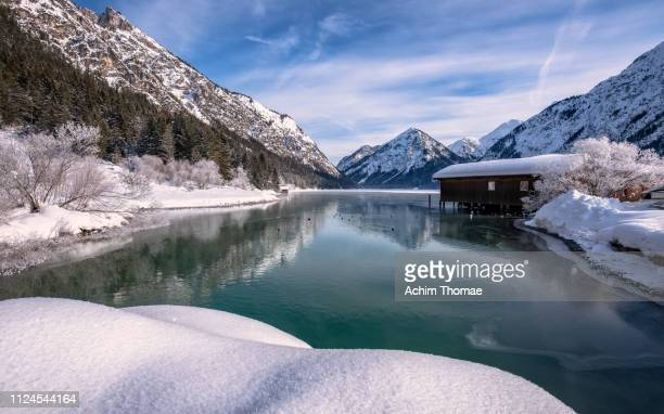 lake heiterwang, tyrol, austria, europe - beschaulichkeit stock pictures, royalty-free photos & images