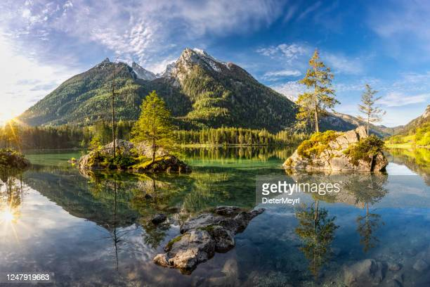 lake hintersee in berchtesgaden national park, bavaria, germany - berchtesgaden stock pictures, royalty-free photos & images
