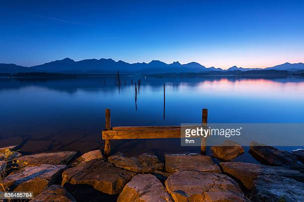 Lake Hopfen at blue hour - Alps mountains (Allgäu/ Bavaria/ Germany)
