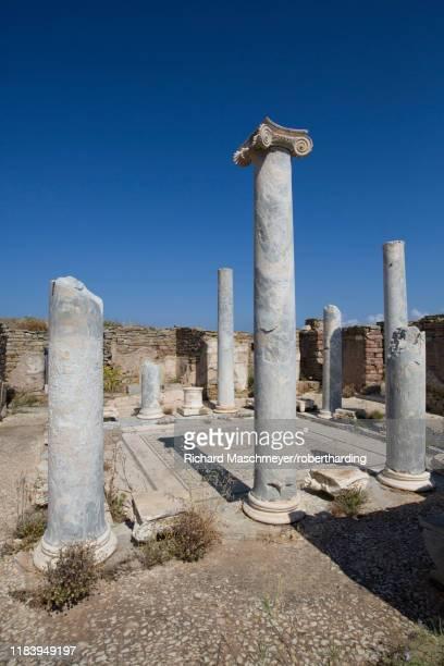 lake house, delos island, unesco world heritage site, cyclades group, greek islands, greece, europe - antike kultur stock-fotos und bilder