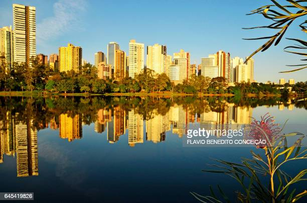 Lake Igapó and Gleba Palhano buildings in the city of Londrina in Brazil